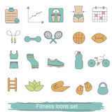 Fitness icons set. Collection fitness icons in thin line style Stock Image
