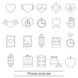 Fitness icons set. Collection fitness icons in thin line style Stock Images