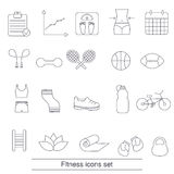 Fitness icons set. Collection fitness icons in thin line style Stock Photo