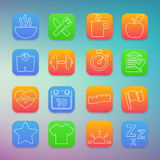 Fitness icons set with color Background. Thin white lines Stock Photos