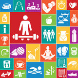Fitness icons set (color) Royalty Free Stock Image