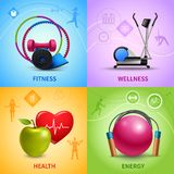 Fitness Icons Set. Fitness design concept set with wellness health and energy icons isolated vector illustration Royalty Free Stock Photo