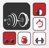 Fitness icons. Set. Dumbbells logo collection. Gym sports equipment concept. Bodybuilding design elements vector Royalty Free Stock Photos