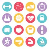Fitness icons set in flat design,. Vector illustration Stock Images