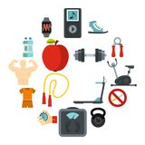 Fitness icons set, flat style. Fitness icons set. Flat illustration of 16 fitness vector icons for web royalty free illustration