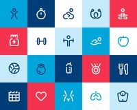 Fitness icons set. Flat Stock Photos