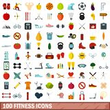 100 fitness icons set, flat style. 100 fitness icons set in flat style for any design illustration stock illustration