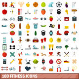 100 fitness icons set, flat style. 100 fitness icons set in flat style for any design vector illustration Stock Image