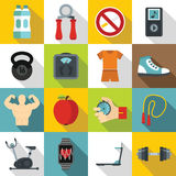 Fitness icons set, flat style. Fitness icons set. Flat illustration of 16 fitness vector icons for web vector illustration