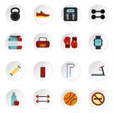 Fitness icons set, flat style. Fitness icons set. Flat illustration of 16 fitness vector icons for web stock illustration