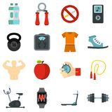 Fitness icons set, flat style. Fitness icons set. Flat illustration of 16 fitness vector icons for web Stock Image