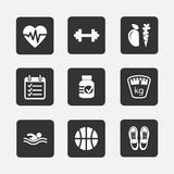 Fitness icons. Set of flat fitness icons vector illustration isolated royalty free illustration