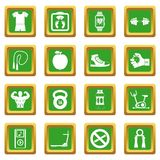 Fitness icons set green. Fitness icons set in green color isolated vector illustration for web and any design Royalty Free Stock Image