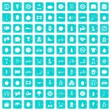 100 fitness icons set grunge blue. 100 fitness icons set in grunge style blue color isolated on white background vector illustration Royalty Free Stock Image