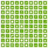 100 fitness icons set grunge green. 100 fitness icons set in grunge style green color isolated on white background vector illustration Stock Illustration