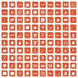 100 fitness icons set grunge orange. 100 fitness icons set in grunge style orange color isolated on white background vector illustration Stock Photos