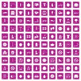 100 fitness icons set grunge pink. 100 fitness icons set in grunge style pink color isolated on white background vector illustration Stock Images