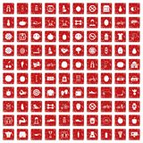 100 fitness icons set grunge red. 100 fitness icons set in grunge style red color isolated on white background vector illustration Stock Photo