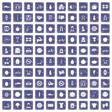 100 fitness icons set grunge sapphire. 100 fitness icons set in grunge style sapphire color isolated on white background vector illustration Royalty Free Stock Photography