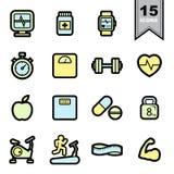 Fitness icons set. Illustration eps 10 Stock Photos