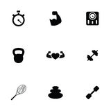 Fitness 9 icons set Stock Photos