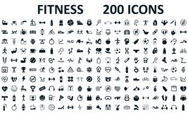 Fitness icons set 200 isolated. Fitness exercise, sport workout training illustration. Characters doing exercises sport figures