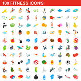 100 fitness icons set, isometric 3d style. 100 fitness icons set in isometric 3d style for any design vector illustration vector illustration