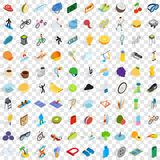 100 fitness icons set, isometric 3d style. 100 fitness icons set in isometric 3d style for any design vector illustration Royalty Free Stock Image