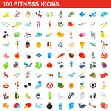 100 fitness icons set, isometric 3d style. 100 fitness icons set in isometric 3d style for any design illustration royalty free illustration