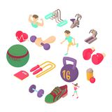 Fitness icons set, isometric 3d style. Fitness icons set in isometric 3d style. Sports equipment set collection vector illustration Stock Photography