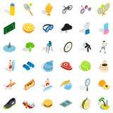 Fitness icons set, isometric style. Fitness icons set. Isometric style of 36 fitness vector icons for web isolated on white background Royalty Free Stock Photo