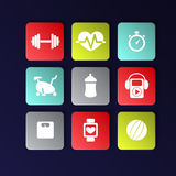 Fitness icons Royalty Free Stock Photography