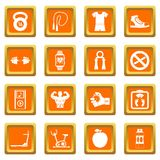 Fitness icons set orange. Fitness icons set in orange color isolated vector illustration for web and any design Royalty Free Stock Photography