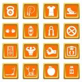 Fitness icons set orange Royalty Free Stock Photography