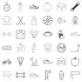 Fitness icons set, outline style. Fitness icons set. Outline style of 36 fitness vector icons for web isolated on white background Royalty Free Stock Images