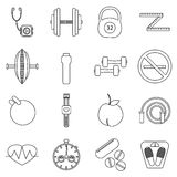 Fitness icons set, outline style. Fitness icons set. Outline illustration of 16 fitness vector icons for web Royalty Free Stock Photography