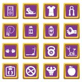 Fitness icons set purple. Fitness icons set in purple color isolated vector illustration for web and any design Stock Photography