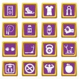 Fitness icons set purple Stock Photography