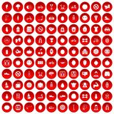 100 fitness icons set red. 100 fitness icons set in red circle isolated on white vector illustration Stock Photo