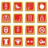 Fitness icons set red. Fitness icons set in red color isolated vector illustration for web and any design Stock Photo