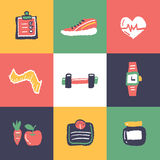 Fitness icons set and signs. Freehand drawing vector illustration Royalty Free Stock Photo