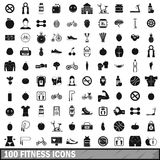 100 fitness icons set in simple style Royalty Free Stock Photos