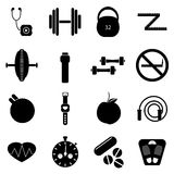 Fitness icons set, simple style. Fitness icons set. Simple illustration of 16 fitness vector icons for web royalty free illustration