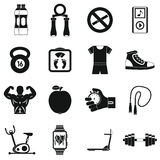 Fitness icons set, simple style Stock Image