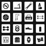 Fitness icons set, simple style. Fitness icons set in simple style. Sport equipment set collection vector illustration Royalty Free Stock Photos