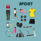 Fitness  icons set. Sport equipment and Royalty Free Stock Photography