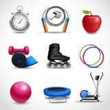 Fitness Icons Set. Fitness and sport icons set with stopwatch apple dumbbell isolated vector illustration Stock Photos