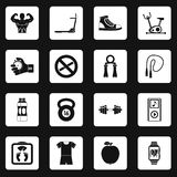 Fitness icons set squares vector Stock Photos