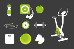 Fitness icons set Stock Images