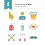 Fitness Icons Set. Vector collection of fitness icons. Sport lifestyle symbols. Gym equipment and healthy nutrition or diet illustrations. Thin line vector Stock Images